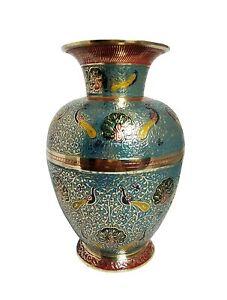 Hand Crafted Brass Sky Blue Flower Vase Jar 15 cm