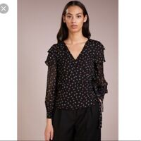 Club Monaco 'Strils' Silk Floral Wrap Blouse Sz S