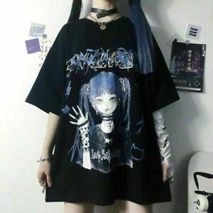 Damen Mädchen Kawaii Hip Hop T-Shirt Gothic Punk Harajuku Punk Black Ulzzang