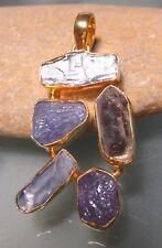 Gold plated brass rough kyanite, Herkimer diamond quartz & tanzanite pendant.