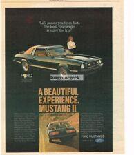 1977 Ford Mustang II Black with Brown Landau Top Vtg Print Ad