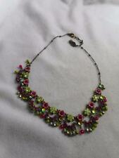 ORLY ZEELON BRASS ENAMEL & CRYSTAL FLOWERS & DANGLE SWAG BEADS NECKLACE