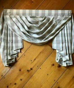 "1 avail. 37"" Custom Designer Fabric Swag Valance Mounted, brown white plaid"
