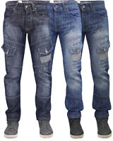 Mens Cargo Combat Jeans Casual Work Denim Pants Trousers All Big King Waist Size