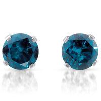 1 ct Treated Blue Diamond Studs 14K White Gold