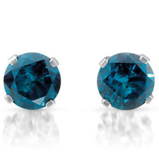1 ct Treated Blue Diamond Studs 14K White Gold