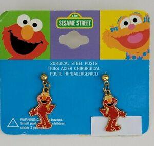 Sesame Street Elmo Enamel Red Dangle Earrings Muppets Surgical Steel Posts 1998