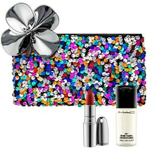 New,MAC 3/Set :Full size NIB Straight Fire+Random Mini Setting Spray+Makeup Bag