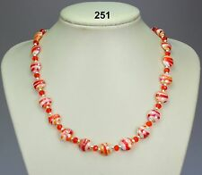 Orange red white striped glass drawbench 12mm bead necklace, crystals, silver sp