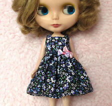 Blythe Doll Outfit Flower Print Blue Dress