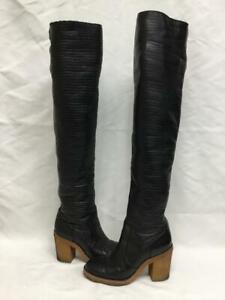 Chanel black leather CC logo OTK shearling boots Sz 39.5 US 9 8.5 UK 6 Rt$3850