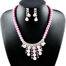 """16.5"""" Pink Glass Pearl Necklace Czech Crystal Tassel Choker Pendant Earrings Set"""