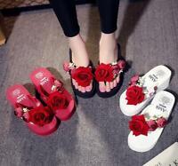 Womens Summer 3D Flower Flip Flop Platform Wedge Heels Beach Slipper sandals
