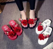 Womens Flower Flip Flops Platform Wedge Heels Beach Slippers Sandals Casual Shoe