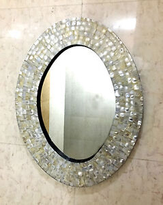 Wall Mirror Bedroom Mother of Pearl Inlay Oval Frame Decorative Home Decor