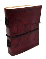 Asri Leather Bound Journal - Horse Handmade Paper Engraved Blank Leather Diary