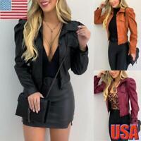 Women's PU Leather Puff Sleeve Coat Ladies Cropped Jacket Blazer Biker Tops USA