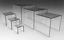 "Set of 6 Clear Acrylic Display Riser, 2"", 3"", 4"", 5"", 6"", 7"""