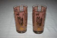 2 - Vintage Gold Geisha on Pink Drinking Water Highball Glasses Japanese Tumbler