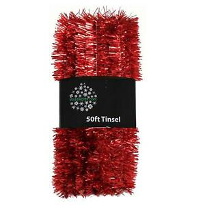 Christmas Tree 50ft x 3cm Tinsel GREAT VALUE - Red