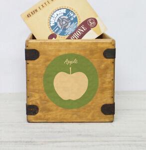 "Apple Record box 7"" Vinyl Records Box Vintage Wooden Crate Retro"