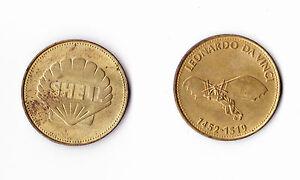 1970 SHELL OIL FUEL PETROL Metal Coin Token Aviation Space Travel Astronaut Nasa