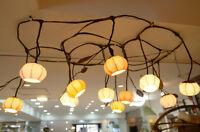 Lampe Hanji Lustre Salon Luminaire Plafond Eclairage Zen Corée GLYCINE JAUNE