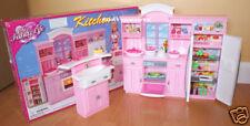 Gloria Furniture Dollhouse Full Kitchen W/Refrigerator Cookwares For Barbie