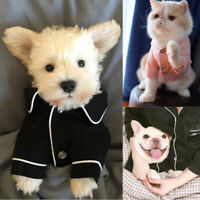 US Pet Dog Cat Pajamas Winter Warm Jumpsuit Clothes For Small Medium Pet Apparel