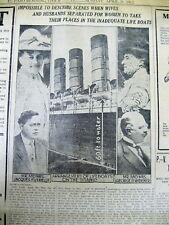 1912 newspaper Ocean liner TITANIC hits iceberg & SINKS + FENWAY PARK 1st OPENS
