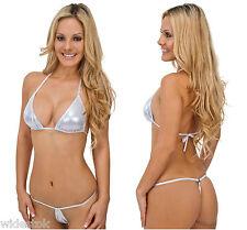Lycra Metallic Silver Bikini Set Lingerie Bra Panty Babydoll Sexy Bikini Set