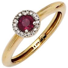 Damen Ring 1 Rubin rot 18 Diamanten Brillanten 585 Gold Gelbgold bicolor 39777