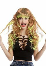 Women's Wig Carnival Long Wetlook Curly Wavy Fringe Ombre Red Neon Yellow