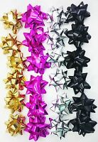 24 Metallic Foil Gift Bows Gold Silver Pink Black Christmas Present Decor Craft