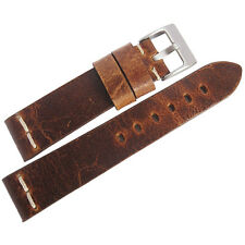 22mm ColaReb Roma Rust Brown Distressed Leather Made in Italy Watch Band Strap