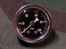 Chrome 100 lb Liquid Filled Oil Pressure Gauge With Black Face.
