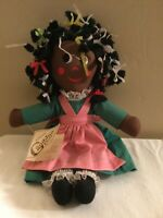 Vintage Ninkie Gambina Doll New Orleans African-American Rag Folk Doll With Tag