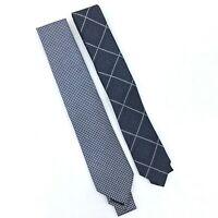 NEW Lot of 2 Blue Ties Perry Ellis and Bar III Men's Navy Print Neck Ties