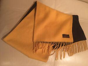 Luxury Handcrafted Yellow Cashmere & Black Silk Scarf Fringe Trim Made in U.K.