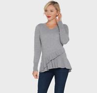 Isaac Mizrahi Live! 2-Ply Cashmere V-Neck Ruffle Peplum Sweater Heather Grey S