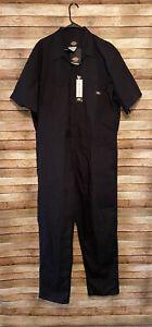 Dickies Mens Short Sleeve Coverall Comfort Waist Workwear Black 2XL NWT New