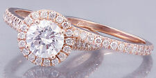 14k Rose Gold Rond Cut Diamond Engegement Ring And Band Bridal Halo 1.65ct