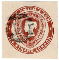 (I.B) QV Postal : Newspaper Wrapper - WH Smith & Son 1½d (Advertising Ring)