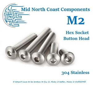 2/5/10pc M2 3mm - 32mm Hex Socket Button Head Screws A2 304 Stainless Steel
