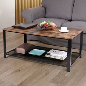 Jaxpety 2-Tier Cocktail Wood Coffee Table Rectangular Living Room Furniture w/ S