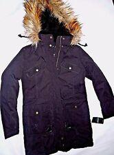 Ralph Lauren womens Black removable hood winter Jacket parka SMALL
