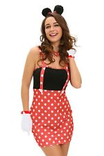 Sexy Ladies Minnie Mouse Fancy Dress Costume Outfit Hen Night Party 10 U.K M
