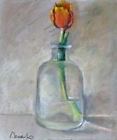 Red tulip in the glass Oil painting signed 8x10 in 20x24cm Still Life Realism