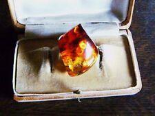UNIKAT echter A-Top-Grade Baltic Amber Bernstein Silber Cocktail Ring Gr 63 / 20