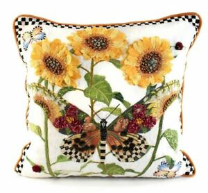 Mackenzie Childs Decorator MONARCH BUTTERFLY Square WHITE Pillow NEW $265 m21-au